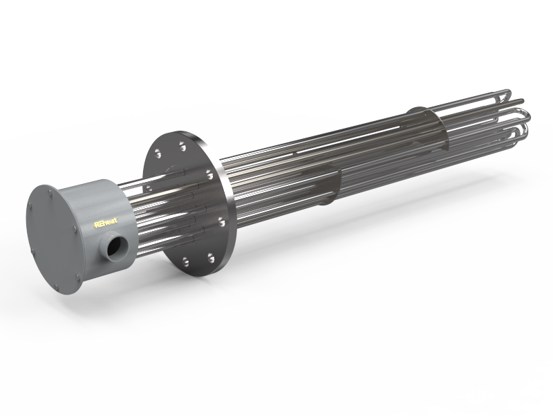 9-Element Flange Immersion Heater with Offset