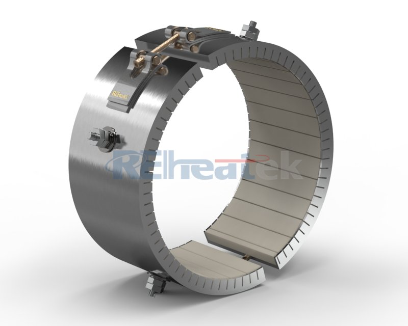 2 Piece Ceramic Band Heater with Threaded Terminals at Opposite Sides