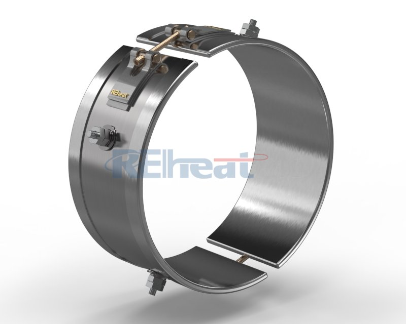 2 Piece Band Heater  with Threaded Terminals  at Opposite Sides